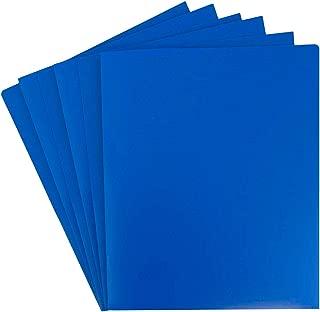 JAM PAPER Heavy Duty Plastic 2 Pocket School Folders - Blue - 6/Pack