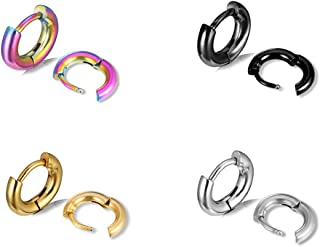 Surgical Stainless Steel Small Hoop Earrings Set 6-40mm Endless Hoop Earrings Hinged Cartilage Piercing Jewelry