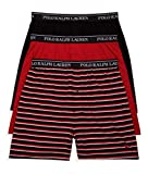 Polo Ralph Lauren Knit Boxer Shorts with Moisture Wicking 100% Cotton - 3 Pack (L, Black & Red Stripe)
