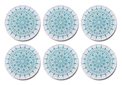 Palooza decoratieve design-onderzetters voor glazen, kopjes van roestvrij staal met kurkrug - set van 6 incl. Box - Mandala Boho Style (rond | 9cm)