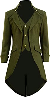 Mens Gothic Tailcoat Jacket Steampunk Victorian Coat Halloween Cosplay Costume Party Uniform