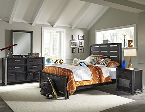 Right2Home Pulaski Graphite Youth 4 Piece Bedroom Set, Full