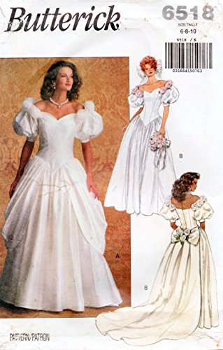 Butterick 6518 Vintage Wedding Gown and Brides Maids Dress Sewing Pattern, Detachable Train Check listings for Size