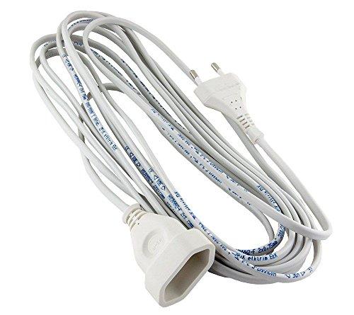 Verlängerungskabel Verlängerung 1-fach Strom-Kabel Euro-Stecker (10,0 Meter 1-Fach, Weiss)