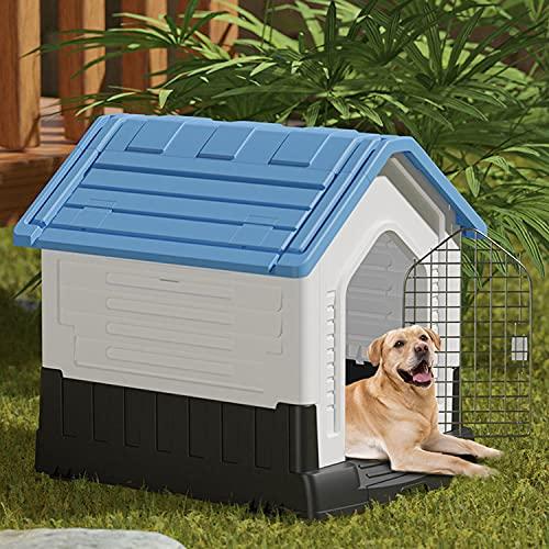 DHYBDZ Caseta para Perros de plástico Resistente de Gran tamaño de 42 Pulgadas, Refugio Exterior Impermeable para Perros Grandes, casa para...
