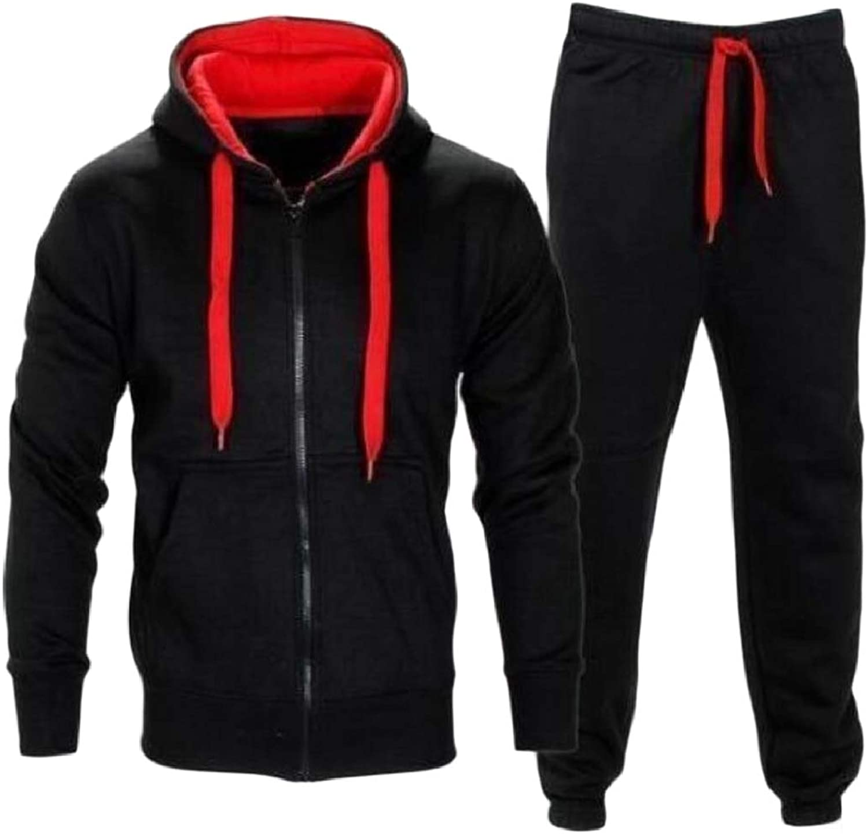 XINHEO Men's Loose Tapered Drawstring Hooded Contrast Zip Sweatsuit Set