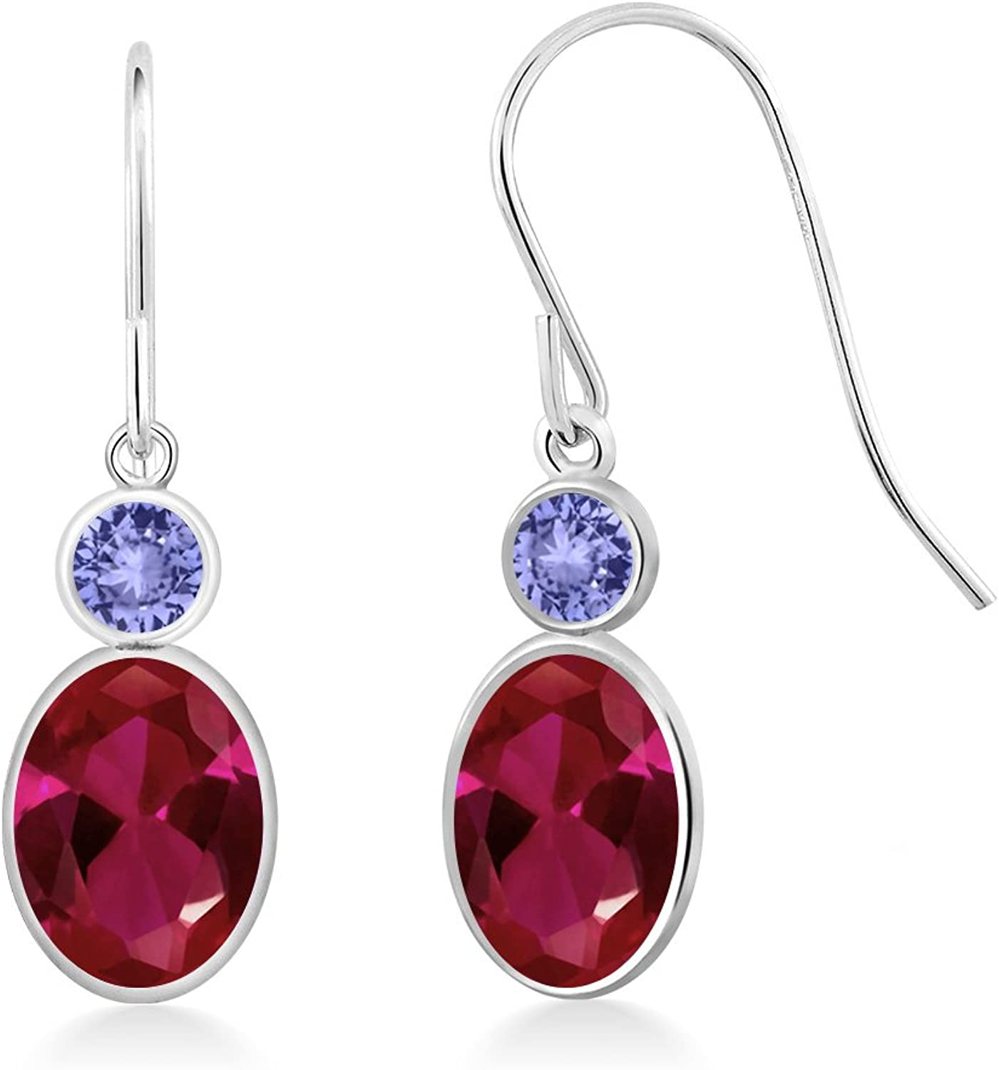 2.12 Ct Oval Red Created Ruby bluee Tanzanite 14K White gold Earrings