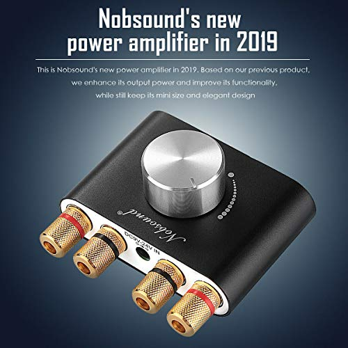 Nobsound Mini Bluetooth Power Amplifier; Stereo Hi-Fi Digital Amp 2.0 Channel 50W×2 with AUX/USB/Bluetooth Input; Wireless Audio Receiver; PC Sound Card with Power Supply (Black)