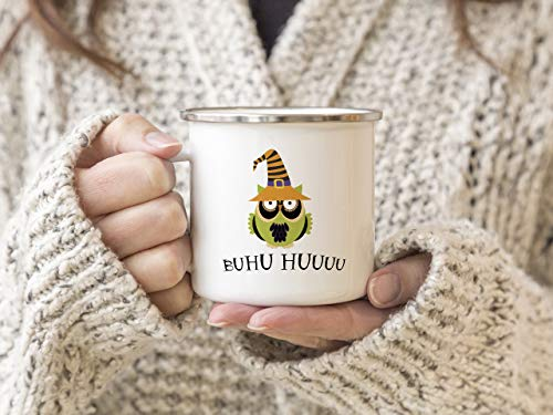 Interluxe EMAILLE Becher Retro Tasse BUHU HUUUU Halloween Eule Dekoration Kostüme Horror Mug