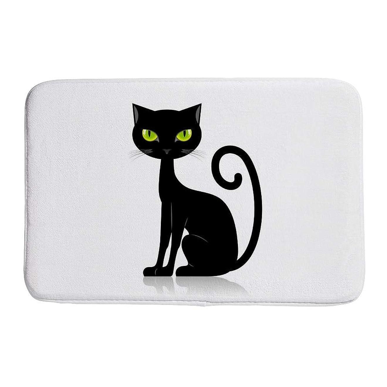 課税目立つ適応的ZHONGJI 玄関マット エントランスドアマット バスルームドアマット キッチンマット 泥落とし 吸水 汚れに強い 屋内 屋外 黒猫