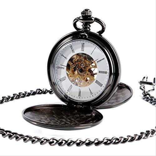 KUANDARGG Reloj de Bolsillo con Colgante de Fob con número Romano para Hombre, Black