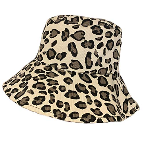 MYhose Summer Cotton Bucket Hat Leopard Print Wide Brim Sunscreen Fisherman Cap White