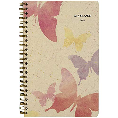 2021 Weekly & Monthly Planner by AT-A-GLANCE, 5-1/2' x 8-1/2', Small, Recycled, Watercolors (791-200G-21)