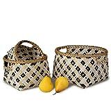 Made Terra - Set di 3 cestini rotondi in bambù intrecciati, fatti a mano, per casa, soggiorno, bagno, vestiario, lavanderia, giocattoli per bambini (pois neri)