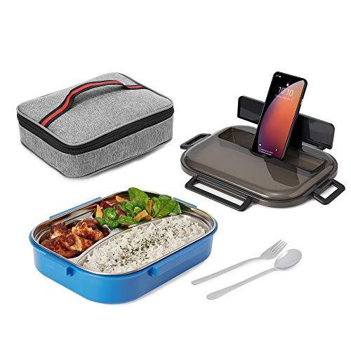 Nineferno Lunchbox- mit Edelstahl Fächern[1200ml] Auslaufsicher & BPA-frei -Für Kinder & Erwachsene. inkl Besteck, Handyhalterung & Tasche,Blau