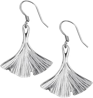 Ginkgo Leaf Earrings - 7/8 Inch - Surgical Steel Wires - Pewter - Handcrafted - Made in USA