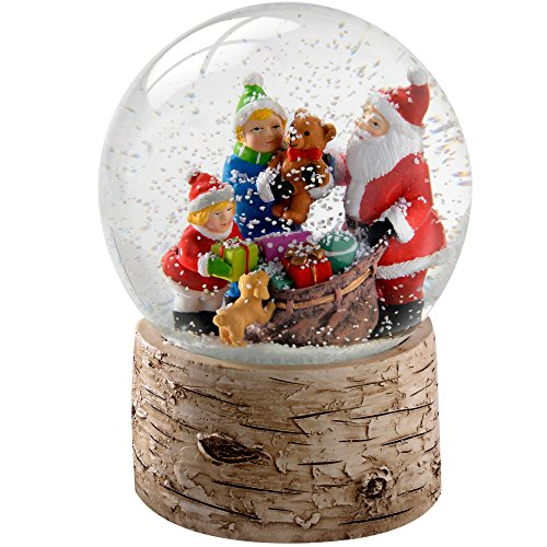 WeRChristmas-Globo di neve 13 cm, motivo: Babbo Natale con bambini & Puppy Base in legno di betulla, colore: multicolore