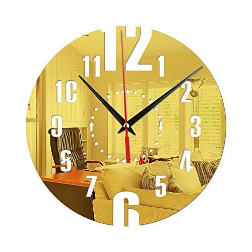 TYXL Relojes de Pared Reloj de Pared Redondo Digital Creativo de la Manera puntea la Pared de acrílico del Reloj del Espejo de decoración del hogar Pegatinas Dormitorio Relojes de Pared