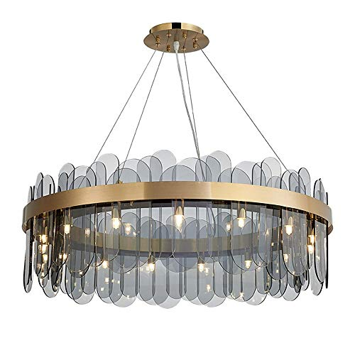 Tesysyet Posmoderna minimalista lámpara de cristal/lujo luz larga suspensión de la cuerda ajustable de la lámpara/Nordic tres tonos de luz LED de la lámpara de techo lámpara H11.02' X W23.62'