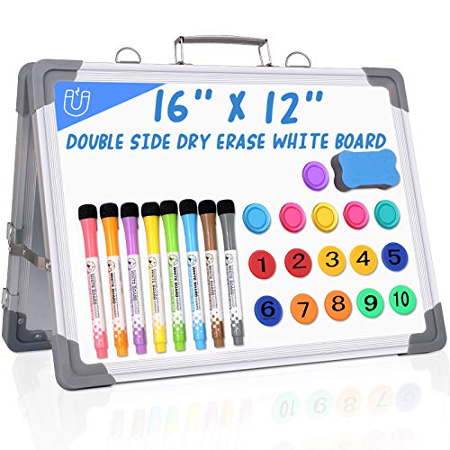 """12"""" X 16"""" Small Dry Erase White Board, Double Sided Magnetic Dry Erase Board with Holder and 10 Digital Magnets Beads , 8 Pens, 6 Magnets & 1 Eraser Foldable Desktop Whiteboard for School Home Office"""