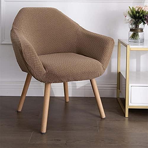 USEFGSBSGGAIUFH Funda de silla curvada de jacquard con alto nivel de inclinación, fundas de sillón para salón, cafetería, maquillaje, sofá, funda de silla, color marrón, 1 pieza