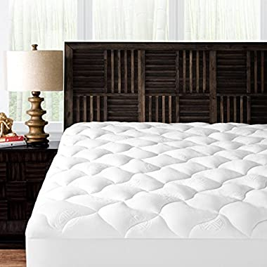 Mandarin Home Collection Ultra Soft Rayon Derived from Bamboo Plush Mattress Topper - Premium Hypoallergenic Mattress Pad - King