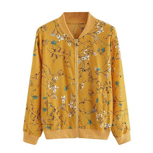 LUCKDE Kimono-Jacken, Damen Sweatshirts Fleecejacken Bodywear Kimono mit Blumenprint Blousonjacke Mit Schönem Blumendruck Shirtbolero Klassische Hemdblusen (XL, YE)