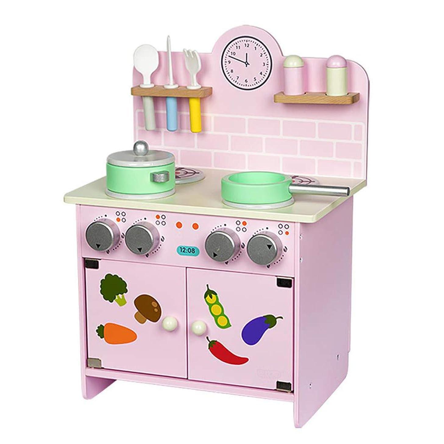 文字コミュニティパイプ女の子のための教育木製キッチン玩具セット、ベビーやキッズのための家のおもちゃを調理シミュレーションキッチン,ピンク