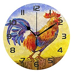 Dozili Country Rooster Chicken Decorative Wooden Round Wall Clock Arabic Numerals Design Non Ticking Wall Clock Large for Bedrooms, Living Room, Bathroom
