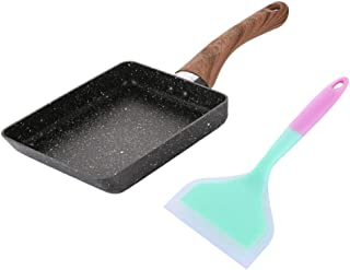 F Fityle Japanese Omelette Pan with Blue Spatula, Nonstick Omelet Pan Tamagoyaki Egg Pan
