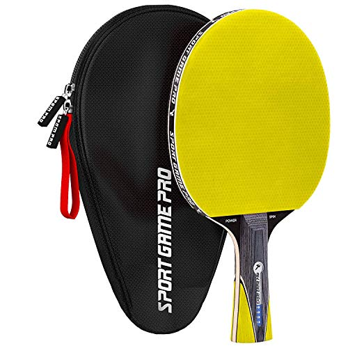 Ping Pong Paddle with Killer Spin + Case for Free - Professional Table Tennis Racket for Beginner and Advanced Players - Improve Your Ping Pong Skills with JT Ping Pong Paddle Set (Yellow)