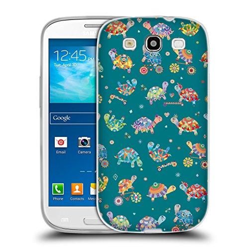 Head Case Designs Offizielle Turnowsky Schildkröten Türkis Pool Party Soft Gel Huelle kompatibel mit Samsung Galaxy S3 III I9300