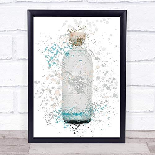 Aquarel Splatter blauw Isle Gin fles muur kunst ingelijst Print Framed Brushed Gold Medium