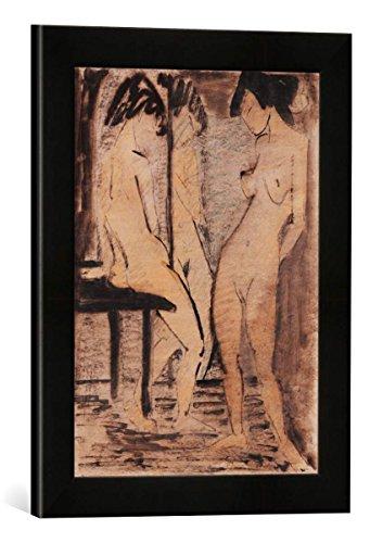 Gerahmtes Bild von Otto Mueller DREI Mädchenakte (Zwei Mädchenakte vor Spiegel), Kunstdruck im hochwertigen handgefertigten Bilder-Rahmen, 30x40 cm, Schwarz matt