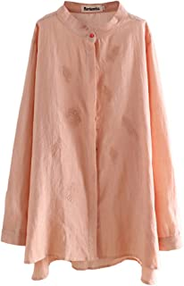 Minibee Women's Long Sleeve Blouses Standing Collar Shirt Embroidery Cotton Linen Tunics