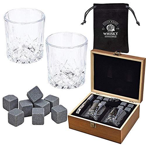 WOMA 8 Whisky Steine mit 2 Whiskey Gläsern, Zange und Holz Geschenkbox - Whiskey Steine Geschenkset aus natürlichem Basalt - Eiswürfel Wiederverwendbar