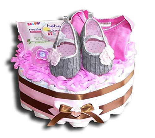Luiertaart – luiertaart baby eerste schoentje voor meisjes babygeschenk babyshower doop geboorte souvenir