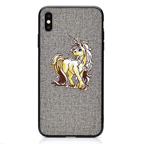 Coopay hard telefoonhoesje voor iPhone XS Max, ultra slanke schokabsorptie krasbestendig flexibel siliconen TPU Frame hoesje telefoonrugbescherming Bumper Cover voor iPhone XS Max (6.5 inch) + 1 x Lanyard, Horse Pattern #Grey