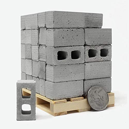 Mini Materials - 1:12 Scale Miniature Cinder Blocks - 50 Pack on a Pallet