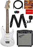 Fender Squier Short Scale (24') Stratocaster - Olympic White Learn-to-Play Bundle with Frontman 10G Amp, Cable, Tuner, Strap, Picks, Fender Play Online Lessons, and Austin Bazaar Instructional DVD