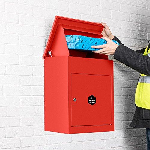 Smart Parcel Box, mittelgroßer Paketbriefkasten mit Paketfach und Briefkasten, sicherer Paketkasten für Zuhause und Unternehmen, mit Rückholsperre, für alle Zusteller geeignet, 44 x 35 x 58 cm, rot