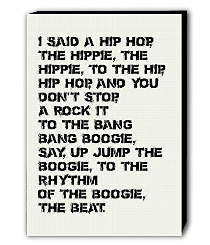 """Fab Kunstdruck auf Leinwand, Liedtext von """"Rapper's Delight""""–Sugar Hill Gang,Weiß,verschiedene Größen, weiß, A0 47x33 inches"""