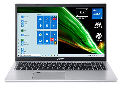 "Acer Aspire 5 A515-56-72J0 Pc Portatile, Notebook con Processore Intel Core i7-1165G7, Ram 8 GB DDR4, 512 GB PCIe NVMe SSD, Display 15.6"" IPS FHD LED LCD, Intel Iris Xe, Windows 10 Home, Silver"
