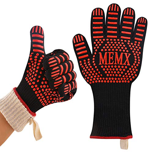 """MEMX Oven Gloves, Barbecue Glove 932°F Heat Resistant Grill Glove, Extreme Kitchen Cooking Oven Mitts, Finger Flexibility 13"""" Extra Large Long Cuff Silicone Non-Slip"""