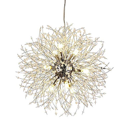 Vikaey Kristall Löwenzahn Kronleuchter, Feuerwerk Sputnik Anhänger Lampe Leuchte für Esszimmer Schlafzimmer Küche Wohnzimmer (12-Licht, Chrom)