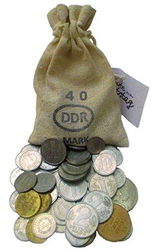 WallaBundu Ostalgie Geschenkidee – 40 gesparte DDR Mark im Jute Sack zum 40. Geburtstag – Ein symbolisch wertvolles Geschenk mit mindestens 11 verschiedenen Münzen und Taschenkalender 1980. Nostalgie…