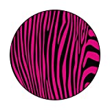 Noble Round Area Rug Pink Zebra Stripes Pattern, Illustration Safe for All Floors and Finishes Diameter 72 in(183cm)