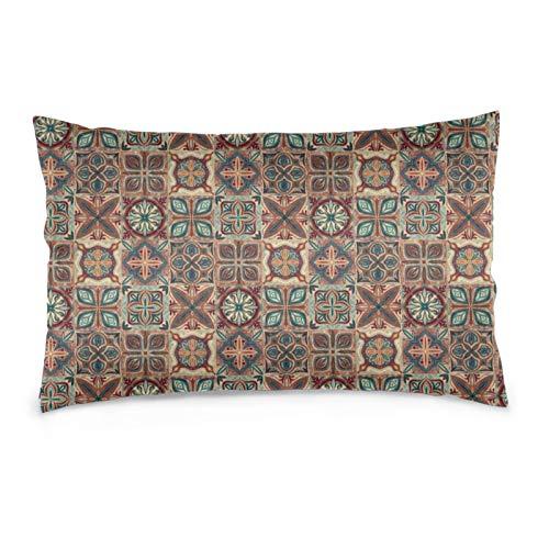 Funda de almohada cuadrada de azulejos rústicos españoles, suave y acogedor, tamaño Queen estándar, 50,8 x 76,2 cm, con cremallera oculta