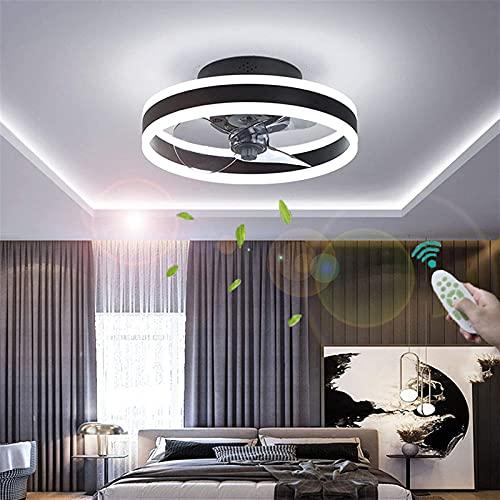 XKAI Ventiladores para el Techo con lámpara y Mando a Distancia LED Lámpara de Techo con Ventilador para Dormitorio Ventiladores de Techo con Luz Silenciosos Regulable, 3000K ~ 6000K,Negro