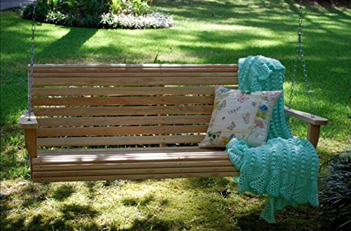 Ecommersify Inc 4 Feet Ft Made in The USA Cypress Lumber Roll Back Porch Swing with Rot-Resistant Cypress Eternal Wood